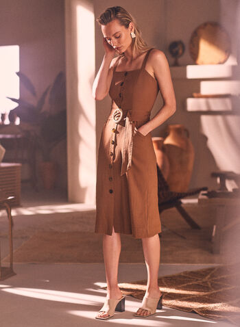 Sleeveless Button Front Dress, Beige,  spring summer 2021, midi dress, linen-like, button-front, cold shoulder, no sleeves, square neck, cinch