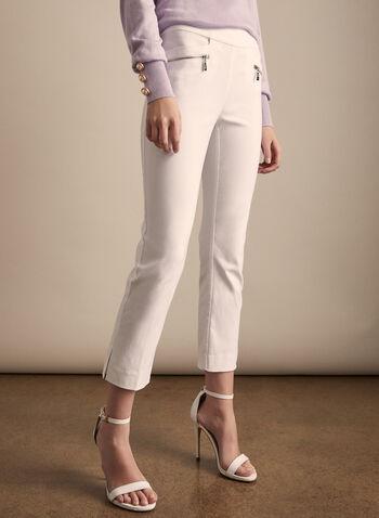 Zipper Detail Capri Pants, White,  pants, capri, pull-on, zipper details, pockets, elastic waist, bengaline, spring summer 2020