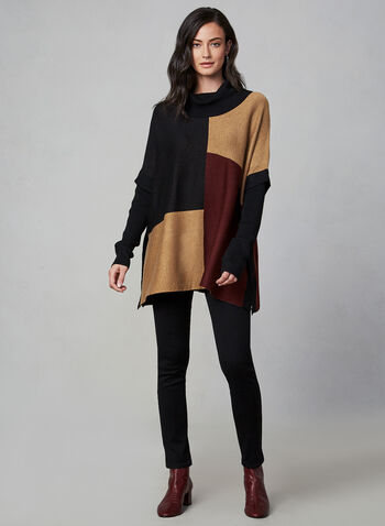 Colour Block Knit Poncho, Black, hi-res,  poncho, knit, long sleeves, colour block, fall 2019, winter 2019