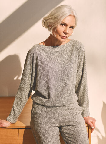 Boat Neck Rib Knit Top, Grey,  top, 3/4 sleeve, dolman, boat neck, rib knit, fall winter 2020
