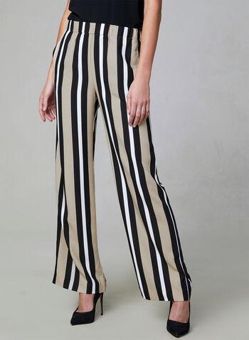 Pantalon palazzo à rayures contrastantes, Noir, hi-res