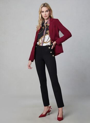 Chemisier en mousseline à motif chaînes, Noir, hi-res,  automne hiver 2019, mousseline, chemise, haut, boutons, blouse, motif, imprimé, manches longues