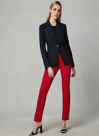 Button Detail Slim Leg Pants, Red, hi-res