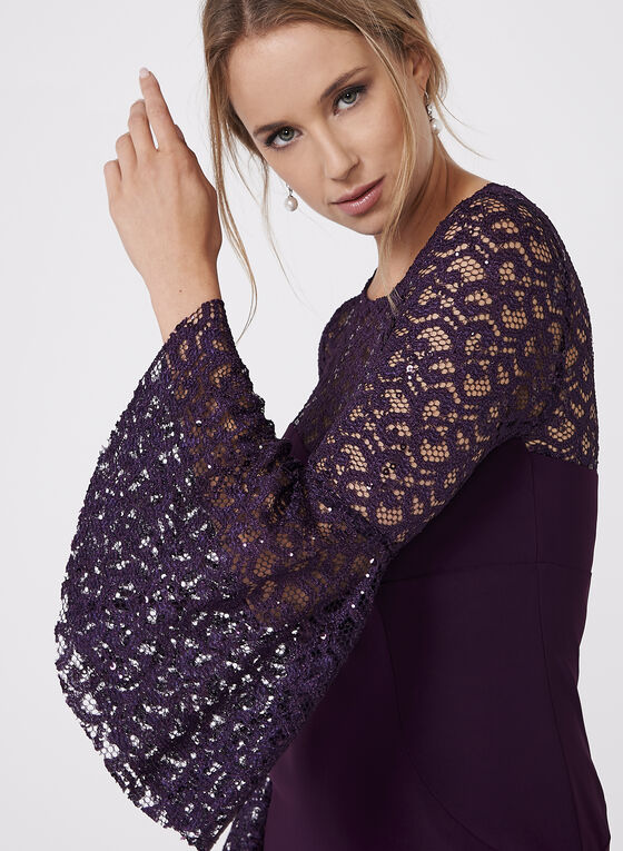 BA Nites - Sequin Lace Jersey Dress, Purple, hi-res