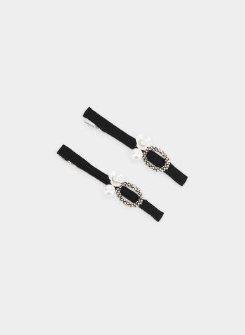 Pearl & Flower Hair Clip Set, Off White, hi-res,  hair clips, metallic accents, pearl, flower, fall 2019