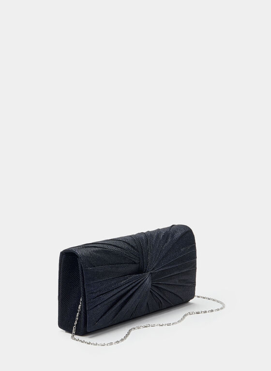Glitter Flap Over Clutch, Blue, hi-res