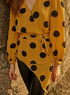 Long Sleeve Large Polka Dot Blouse, Yellow