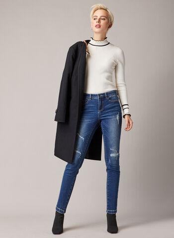 Jeans étroit à détails usés et pierres, Bleu,  jeans, denim, étroit, 5 poches, pierres, usé, automne hiver 2020