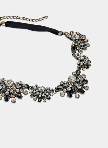 Floral Bib Necklace , Black, hi-res