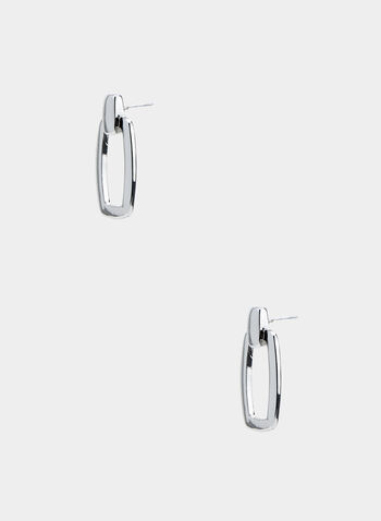 Rectangular Drop Earrings, Silver,  hoop earrings