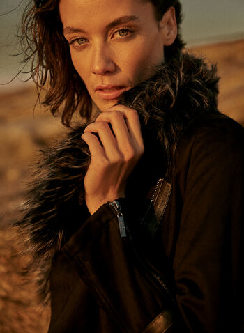 Joseph Ribkoff - Faux Fur Collar Jacket, Black,  fall 2021, joseph ribkoff, jacket, top, faux fur, wide collar, suede, vegan, leather, long sleeves, zippers, metal, cuffs, asymmetrical, fit, cut, hem, decorative, band