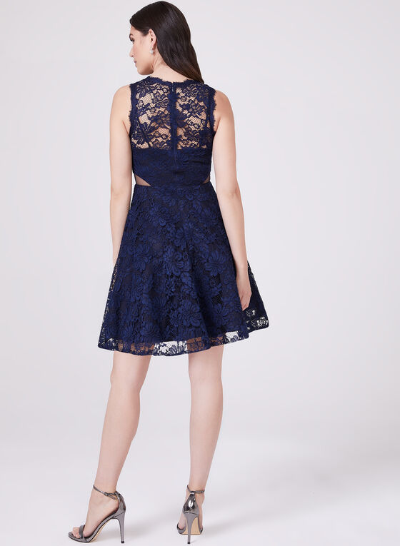 BA Nites - Lace Fit & Flare Dress, Blue, hi-res