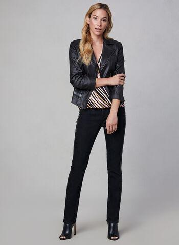 Vex - Blazer ouvert en faux cuir, Noir, hi-res,  blazer, faux cuir, ouvert, col cranté, zip, détails cloutés, automne hiver 2019