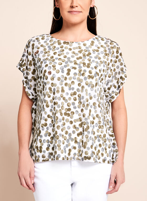 Short Sleeve Dot Print Blouse, Brown, hi-res
