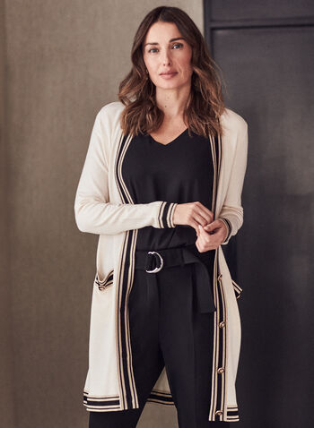 Contrast Trim Button Front Cardigan, Off White,  top, cardigan, contrast, button front, long sleeves, pockets, spring summer 2021