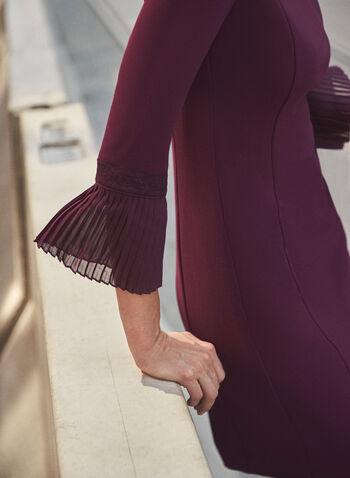 Robe à détail plissé aux manches, Violet,  automne hiver 2020, robe ajustée, encolure bateau, manches ¾, manches 3/4