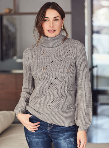 Turtleneck Puff Sleeve Sweater, Grey,  top, sweater, knit, turtleneck, rib knit, fall winter 2020