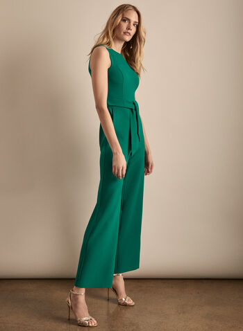 Vince Camuto - Sleeveless Crepe Jumpsuit, Green,  jumpsuit, sleeveless, crepe, scoop neck, wide leg, pockets, spring summer 2020
