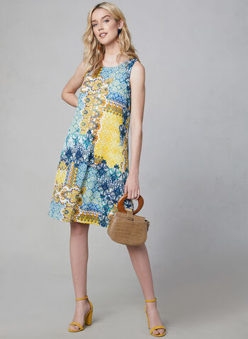 Maggy London - Mosaic Print A-Line Dress, Blue, hi-res,  trapeze, sleeveless, scoop neck, spring 2019, summer 2019