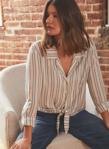 Vince Camuto - Stripe Print Tie Front Blouse, White,  blouse, shirt collar, long sleeves, button down, tie front, stripe print, spring summer 2021