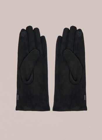 Buckle Detail Gloves, Black,  fall winter 2020, gloves, faux leather, vegan, faux suede