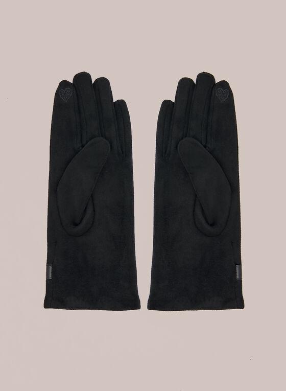 Gants bi-matière à détail boucle, Noir