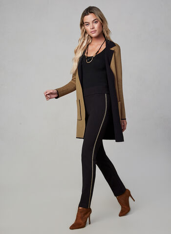 Notched Collar Knit Cardigan, Brown, hi-res,  long jacket, long blazer, edge-to-edge front