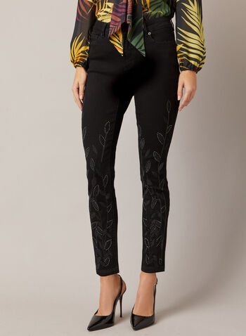 Leaf Detail Slim Leg Jeans, Black,  jeans, slim leg, embellished, sequins, stitch, pockets, denim, fall winter 2020