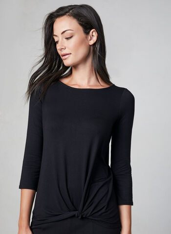 Knot Detail Long Sleeve Top, Black, hi-res,  ¾ sleeves, 3/4 sleeves, scoop neck, tie detail, fall 2019, winter 2019