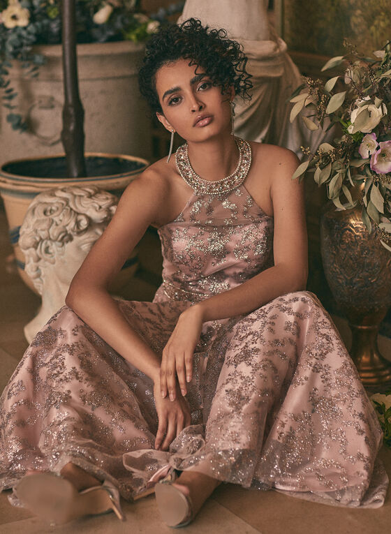 Cachet - Robe de bal à fleurs pailletées, Rose
