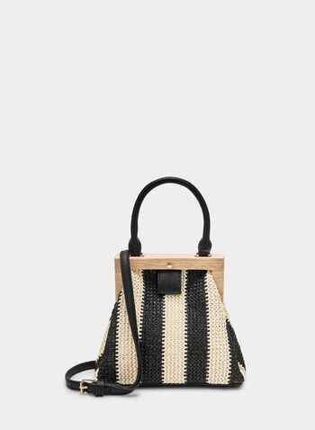 Wood Frame Handbag, Black, hi-res