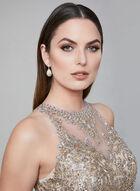 Cachet - Embellished Mesh Dress, Off White, hi-res