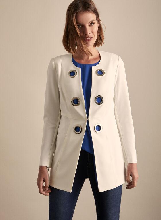 Vex - Blazer style redingote à œillets, Blanc cassé