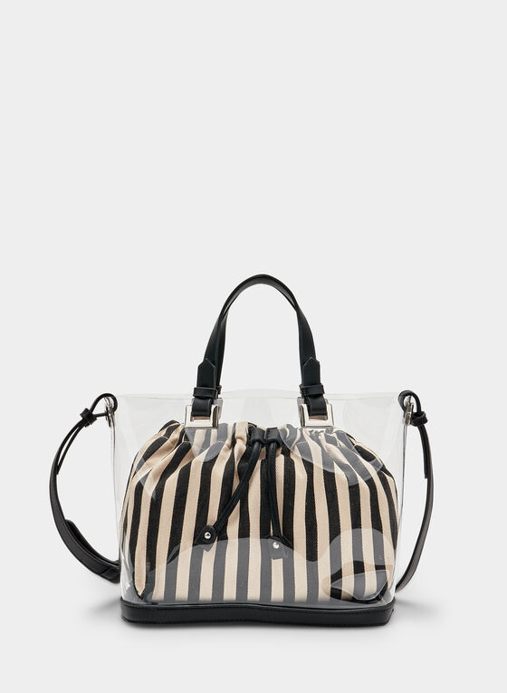 Striped Canvas Bag With Clear Shell, Black, hi-res