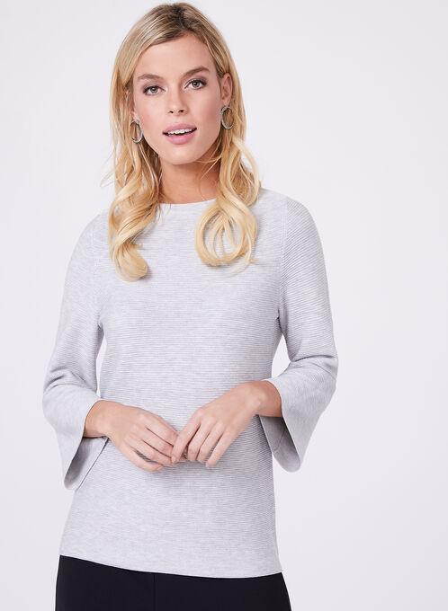 Pull en tricot à manches cloche façon ottoman, Gris, hi-res