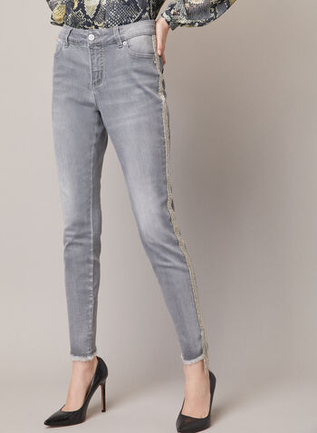 Metallic Detail Slim Leg Pants, Grey,  fall winter 2020, jean, slim leg, denim, metallic, pockets, hem, fringed