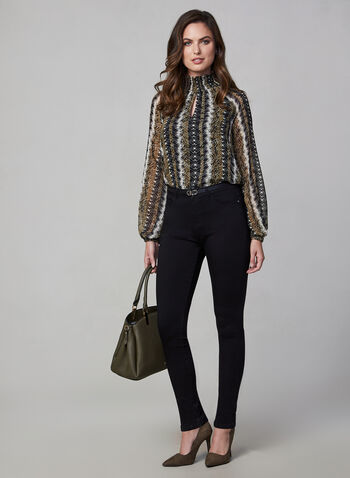 Ruched Collar Snake Print Top , Green,  snakeskin print, long sleeves, animal print, chiffon, fall 2019, autumn 2019