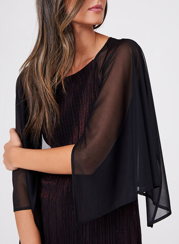 Pleated Metallic Chiffon Top, , hi-res