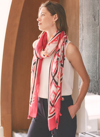Geometric Print Lightweight Scarf, Pink,  accessories, scarf, lightweight, geometric print, tassel, fringe, spring summer 2021
