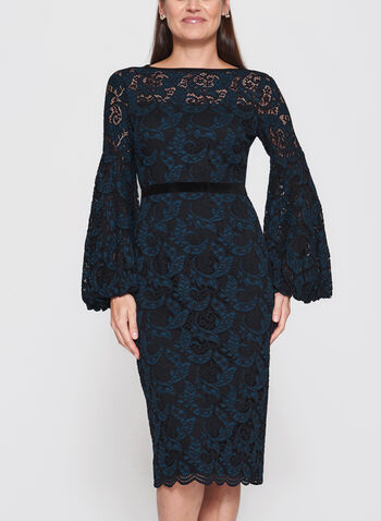 Maggy London - Lace Balloon Sleeve Sheath Dress, , hi-res