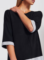 Colour Block Tunic Sweater, Black, hi-res