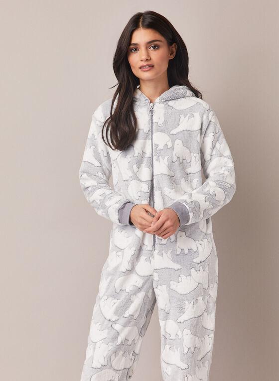 Polar Bear Motif Onesie Pyjamas, Grey