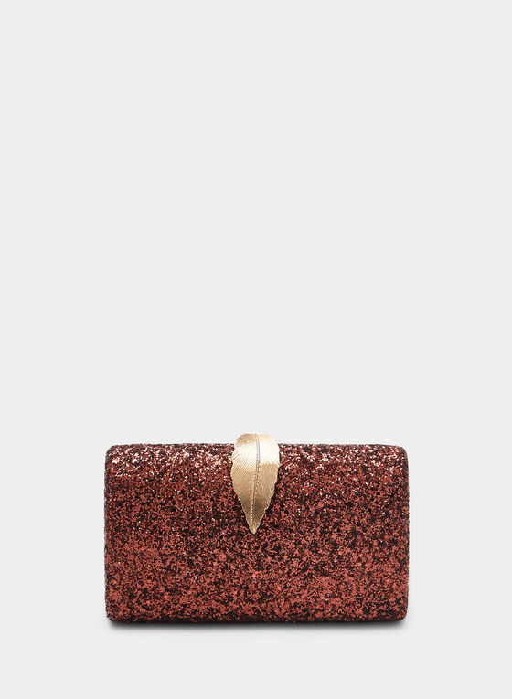 Glitter Box Clutch, Brown