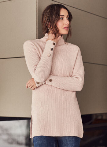 Mock Neck Tunic Sweater, Pink,  sweater, knit, tunic, ribbed knit, long sleeves, mock neck, button details, fall winter 2020