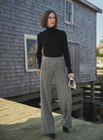 Pantalon large à motif Prince-de-Galles, Noir,  jambe large, carreaux, imprimé, boutons, détails boutonnés, automne hiver 2020