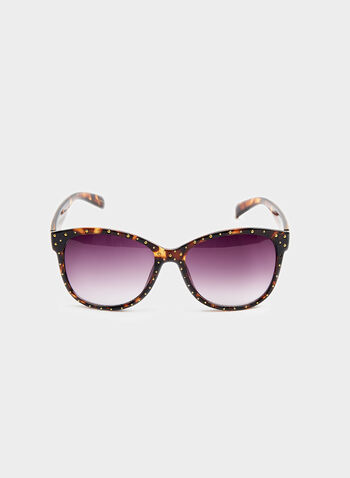 Studded Plastic Cat-Eye Sunglasses, Brown, hi-res