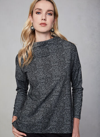 Linea Domani - Funnel Neck Top, Black, hi-res,  Linea Domani, top, houndstooth, long sleeves, funnel neck, fall 2019, winter 2019