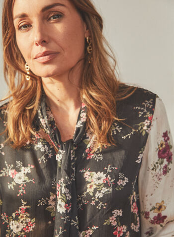 Vince Camuto - Floral Print Tie Neck Blouse, Black,  top, blouse, long sleeves, floral, tie neck, pleated, spring summer 2021