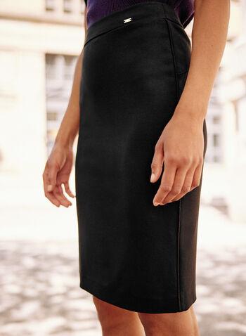 Jupe crayon longueur genoux, Noir,  printemps été 2020, jupe, crayon, étroite, ajustée, point de Rome, longueur genoux, détails