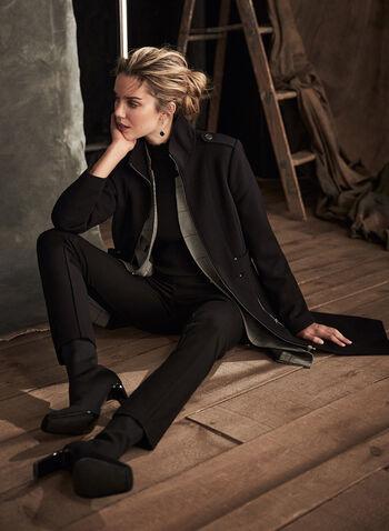 Manteau en tricotine à glissières, Noir,  automne hiver 2020, manteau, tricotine, manches longues, militaire, glissière, zip, structuré, poches